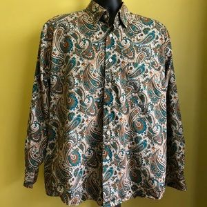 ALAN FLUSSER Teal Green Paisley shirt XL